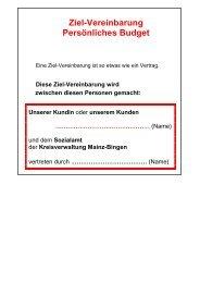 Ziel-Vereinbarung Persönliches Budget - Landkreis Mainz-Bingen