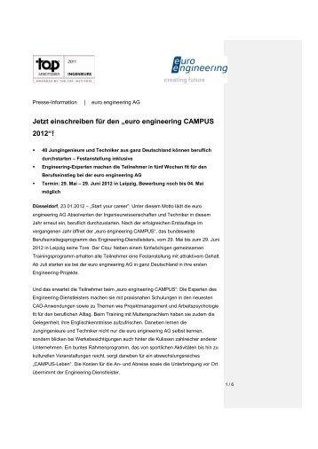 """Jetzt einschreiben für den """"euro engineering Campus 2012"""""""