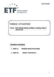 tender specifications - Infoeuropa