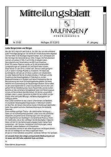 Mitteilungsblatt Nr. 51,52 v. 20.12,.2012 - Gemeinde Mulfingen