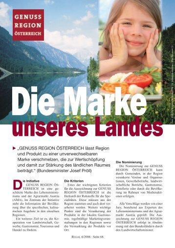 """""""GENUSS REGION ÖSTERREICH lässt Region und Produkt ... - Regal"""