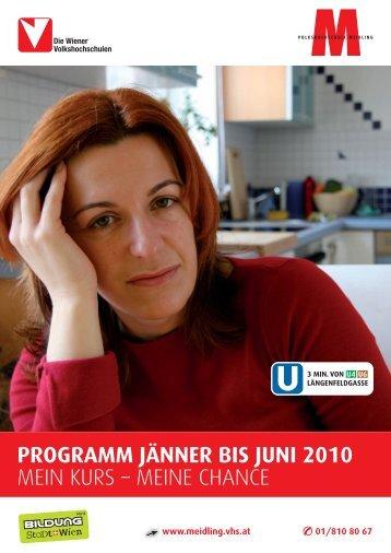VHS Meidling Programm – Jänner bis Juni 2010