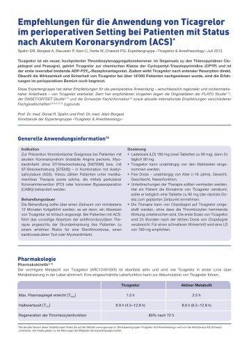 Anwendung von Ticagrelor im perioperativen Setting