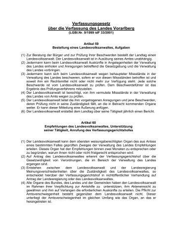 Landesverfassung - Landesvolksanwaeltin von Vorarlberg