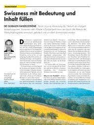 Swissness mit Bedeutung und Inhalt füllen - Weber Management