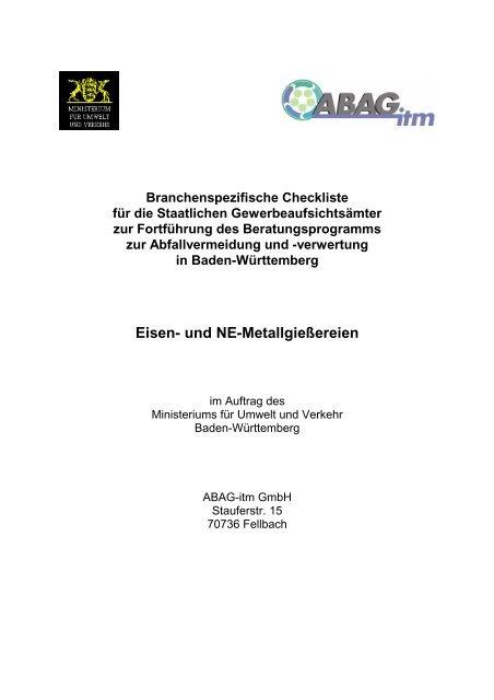 Eisen- und NE-Metallgießereien - Baden-Württemberg