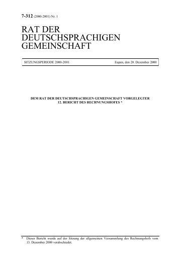 12. Bericht des Rechnungshofes (Deutschsprachige Gemeinschaft)