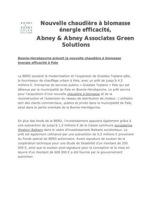 Nouvelle chaudière à biomasse énergie efficacité, Abney