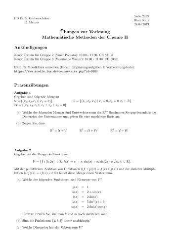 ¨Ubungen zur Vorlesung Mathematische Methoden der Chemie II ...
