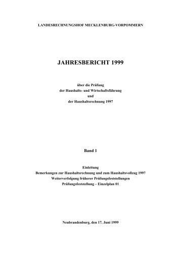 jahresbericht 1999 - Landesrechnungshof Mecklenburg-Vorpommern