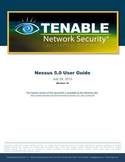 Nessus 5 0 User Guide - Tenable Network Security - Nessus