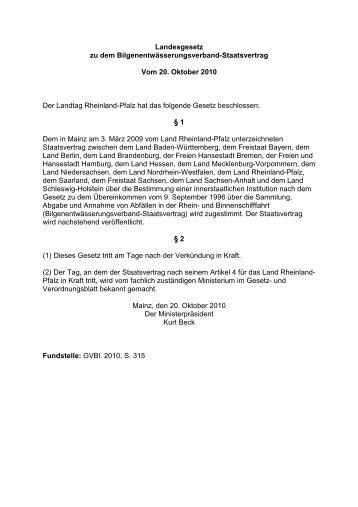 Bilgenentwässerungsverband-Staatsvertrag - Ministerium für ...