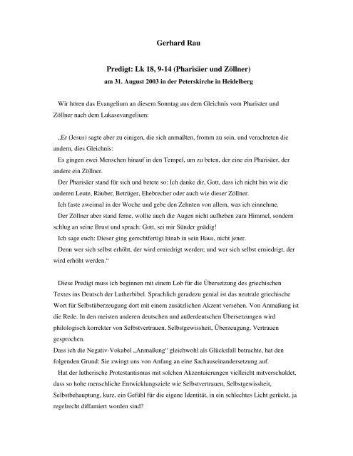 gleichnis vom pharisäer und zöllner