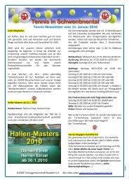 Tennis-Newsletter vom 11. Januar 2010 - Tennis in Schwentinental