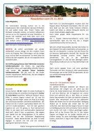 Newsletter vom 21.11.2011 - Tennis in Schwentinental
