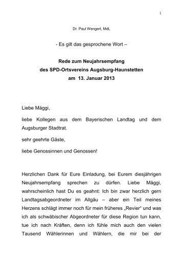 13. Januar Neujahrsempfang SPD OV Haunstetten - Dr. Paul Wengert