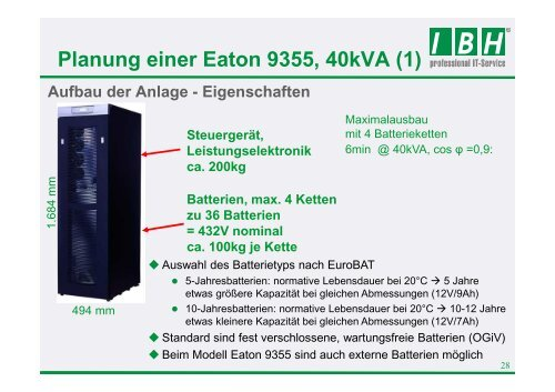 Planung einer Eaton 9395 - bei der IBH IT-Service GmbH