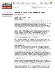 Der Musikverein Konzerte Shop Ausgabe: November 2005