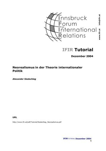 Neorealismus in der Theorie internationaler Politik - IFIR