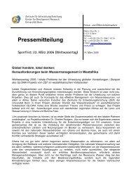 Weltwassertag am 22.03.06 - Global handeln, lokal denken - ZEF