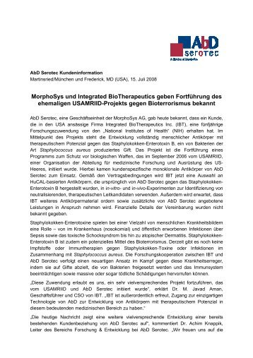 MorphoSys Und Integrated BioTherapeutics Geben