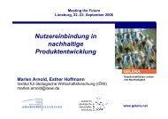 Nutzereinbindung in nachhaltige Produktentwicklung - Doktoranden ...