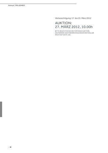 AuKTiOn: 27. MäRz 2012, 10.00h - Koller Auktionen