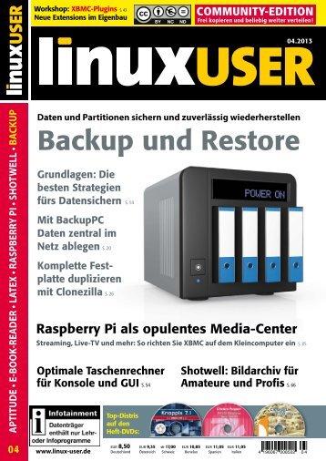 Ausgabe 04/2013 jetzt herunterladen - Linux User