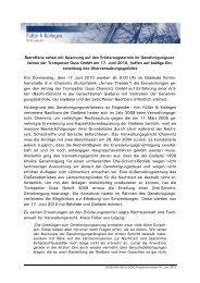 Presseerklärung von Füßer & Kollegen vom 16. Juni 2010
