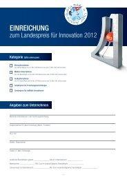 Einreichung zum Landespreis für Innovationen 2012 - TMG