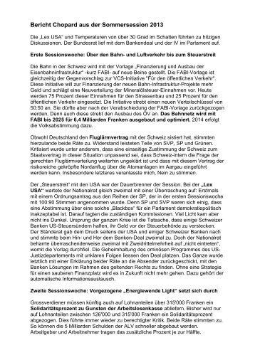 Bericht Chopard aus der Sommersession 2013
