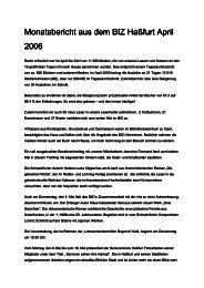 Monatsbericht aus dem BIZ Haßfurt April 2006