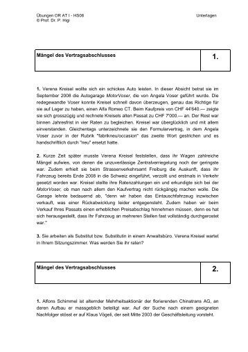 Mängel des Vertragsabschlusses Mängel des Vertragsabschlusses