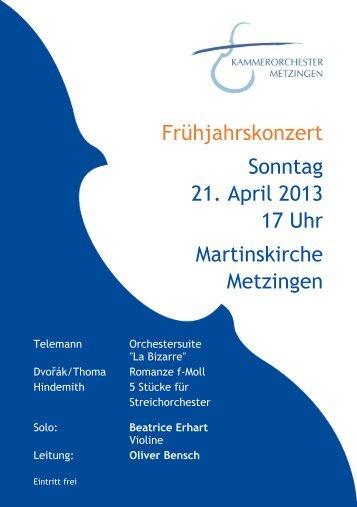 Programm - Kammerorchester Metzingen