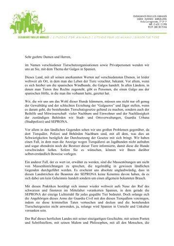offener Brief an die SEPRONA - SOS Galgos