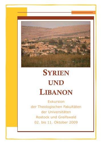SYRIEN UND LIBANON - Theologische Fakultät