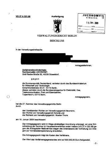 VERWALTUNGSGERICHT BERLIN BESCHLUSS - Golem.de