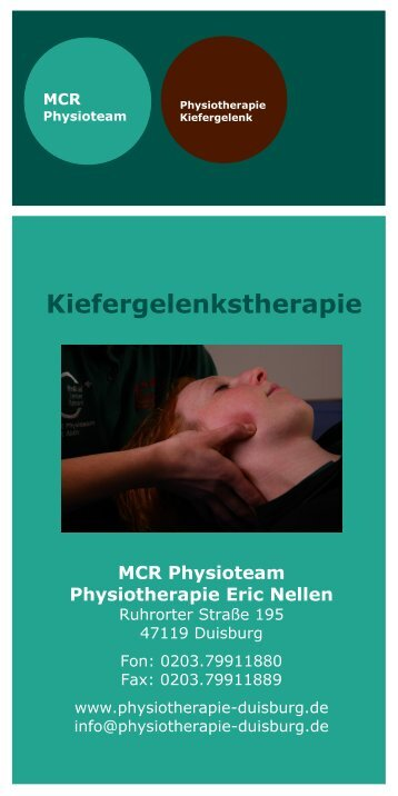 "Flyer ""Kiefergelenk/Physiotherapie"" als Download - Eric Nellen"