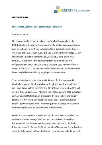 Erfolgreicher Abschluss der Seensanierung in Brüssow - enertrag
