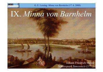 IX. Minna von Barnhelm - Literaturwissenschaft-online