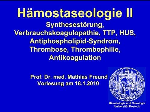 Hämostaseologie II - Hämatologie und Onkologie Rostock