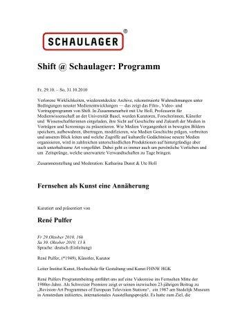 Shift @ Schaulager: Programm