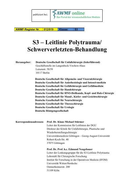 S3 Leitlinie Polytrauma Schwerverletzten Medicalscicom
