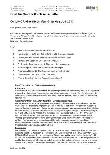 Brief Für Unternehmer Und Freiberufler Juli 2013 Mfm