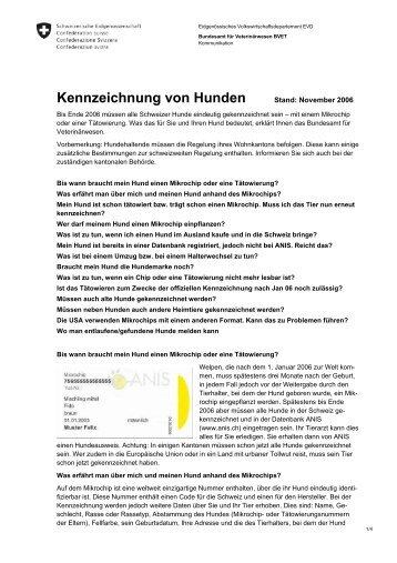 Kennzeichnung von Hunden - beim Bundesamt für Veterinärwesen ...