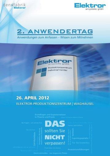 Broschüre zum zweiten Anwendertag - Elektror