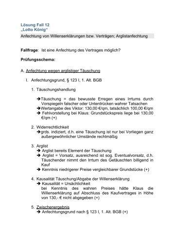 Lösung Fall 5 Halver Hahn Vertrag Und Willenserklärung