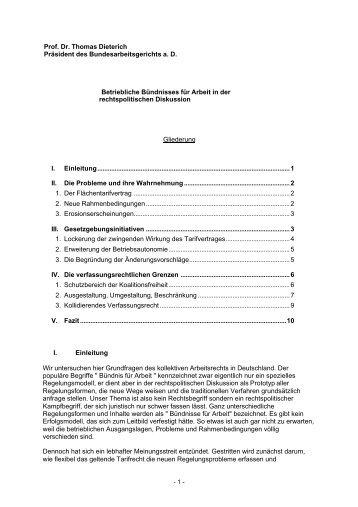 Betriebliche Bündnisse für Arbeit aus ... - Welt der Arbeit