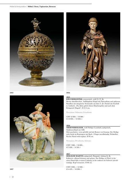 Möbel, Pendulen, Tapisserien, Skulpturen ... - Koller Auktionen