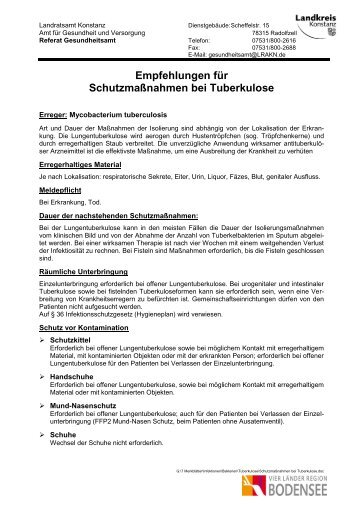 Schutzmaßnahmen bei Tuberkulose
